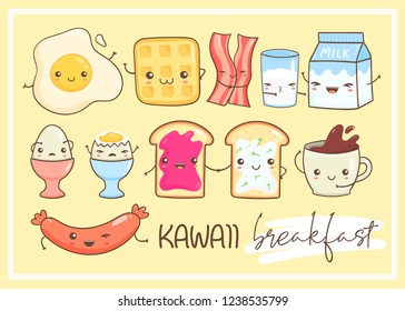 Kawaii breakfast. Various tasty food with faces. Hand drawn vector set. Colored version. Yellow background. All elements are isolated