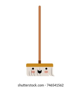 kawaii broom with wooden stick in colorful silhouette vector illustration