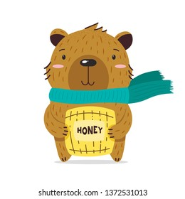 Kawaii brown little bear smiling. Holds a keg of honey. Teddy bear with a scarf. Flat hand drawn illustration kid's poster. Cartoon animal character set. T-shirt print, wear, celebration greeting card