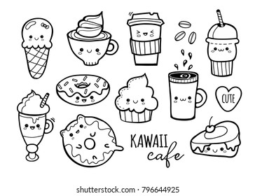 Kawaii cafe. Various cute food. Hand drawn vector set. All elements are isolated