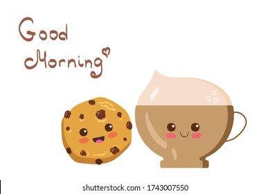 Kawaii Cappuccino & Cookie vector characters isolated on white background. Funny smiling coffee with foam & hand written Good Morning lettering. Cute yummy breakfast illustration. Kids menu concept.