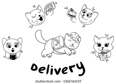 kawaii cartoon cat with backpack delivery fast food, sushi, pizza, cake, wok, food delivery, cute pets eat, editable vector illustration