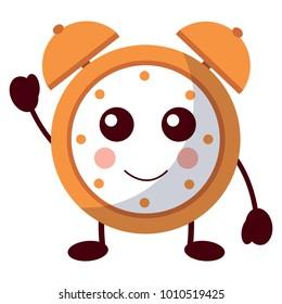 kawaii cartoon clock alarm character