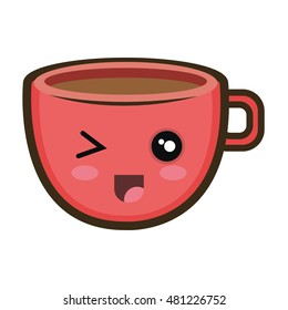 kawaii cartoon coffee cup