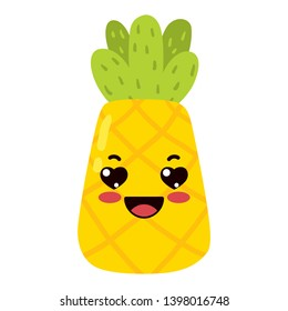kawaii cartoon cute pineapple fruit  Emoji Sticker  lovestruck character on white background delicious icon design vector illustration