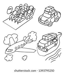 Kawaii cartoon people are at travles vehicle trip logo icon