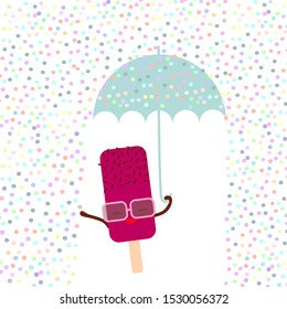 Kawaii cartoon pink ice cream with sunglasses. Ice lolly holding an blue umbrella, pastel colors on white sprinkles rain background. greeting card design, text, fashion baby print. Vector