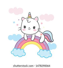 Kawaii Cat cartoon in unicorn vector on rainbow cute animal (pastel color), Nursery decoration, hand drawn isolated on a white background: Fairytale pony horse- Perfect for kid's greeting card.