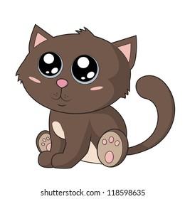 Kawaii cat. Cute brown kitty with big blue eyes. Cute illustration.