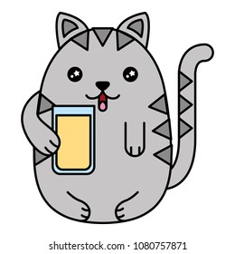 kawaii cat holding glass juicy cartoon