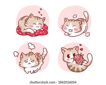 Kawaii Cat Sleeping, Streching, angry, Playing with ball of yarn Illustration Set