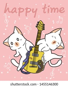 Kawaii cats and the guitar in cartoon style.