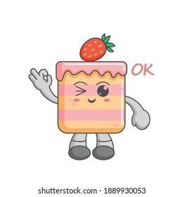 Kawaii character of Strawberry Cake ok finger