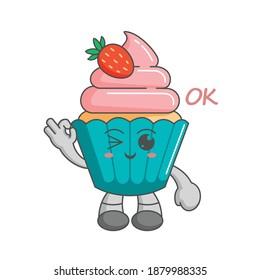 Kawaii character of strawberry cupcake ok finger