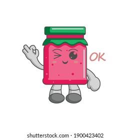 Kawaii character of strawberry jam ok finger