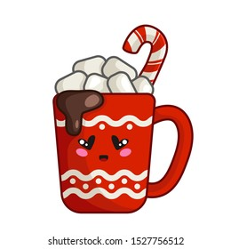 Kawaii Christmas red cup or mug with hot winter beverage - cocoa, coffee, marshmallows and candy cane, cute emoji face character, new year traditional drink - isolated icon vector
