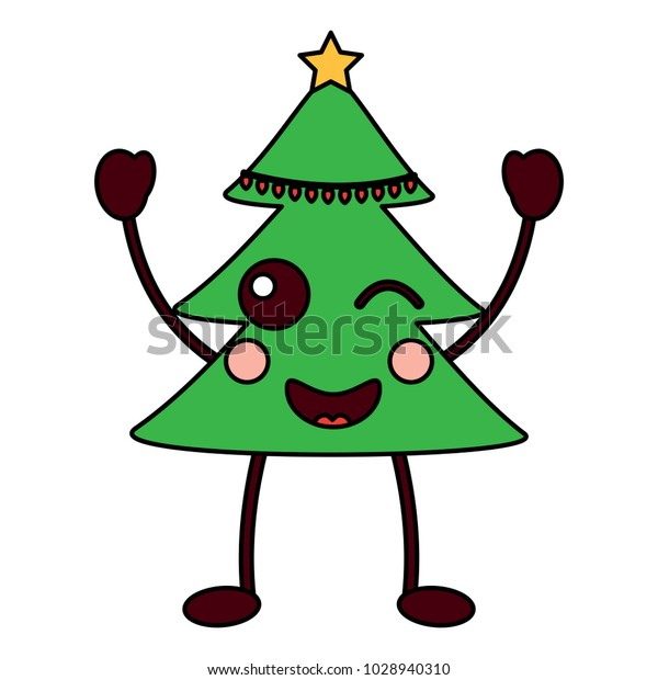 Kawaii Christmas Tree Cartoon Happy Stock Vector Royalty Free 1028940310 Beautiful christmas tree illustration images with lots of gifts under the christmas tree. shutterstock