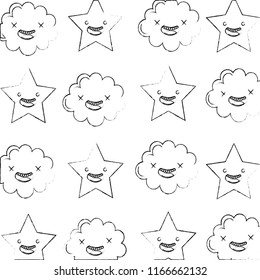 kawaii cloud star cartoon characters pattern
