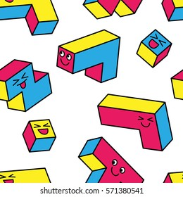 Kawaii colorful game 3d blocks on white background. Seamless pattern. Vintage 80s style design. Clipping mask used.