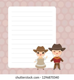 Kawaii Cowboy boy and girl in national costume and hat. Cartoon children Card design with brown pastel colors polka dot lined page notebook, template, blank, planner background. Vector