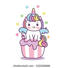 Kawaii Cupcakes topping unicorn vector fairy cartoon pony child, Pastel color kid food dessert bakery product fabulous fashion birthday party cafe shop: muffin invitation post, t-shirt, nursery.