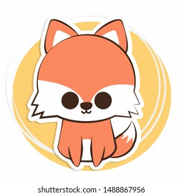 Kawaii or Cute Animal Character (Fox) in Autumn Seasons