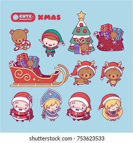 kawaii, cute, chibi cartoons.  New Year set with characters, Santa Claus, Snow Maiden, deer, elf, spruce, gifts