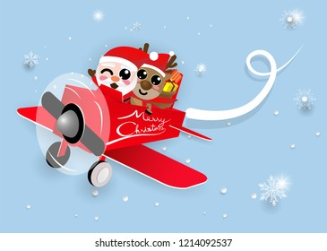 kawaii cute Christmas Santa Claus and reindeer on red plane,happy new year