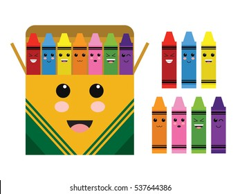 Kawaii Cute Color Crayon Box School Supplies