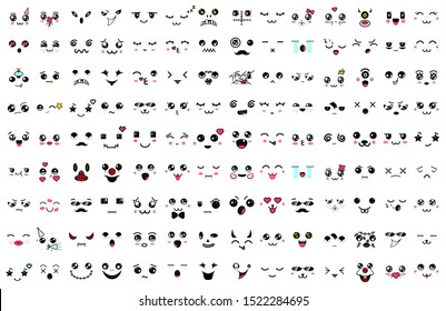 Kawaii cute faces. Manga style eyes and mouths. Funny cartoon japanese emoticon in in different expressions. Expression anime character and emoticon face illustration. Background, Wallpaper. Mask.