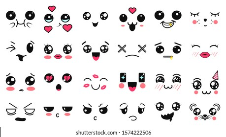 Kawaii cute faces. Manga style eyes and mouths. Funny cartoon japanese emoticon in in different expressions. Expression anime character and emoticon face illustration. Background, Wallpaper. Emotions.
