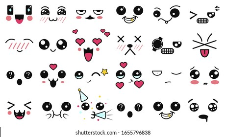 Kawaii Eyes Images Stock Photos Vectors Shutterstock The secret to drawing kawaii eyes and mouths from memory, with 74 examples. https www shutterstock com image vector kawaii cute faces manga style eyes 1655796838