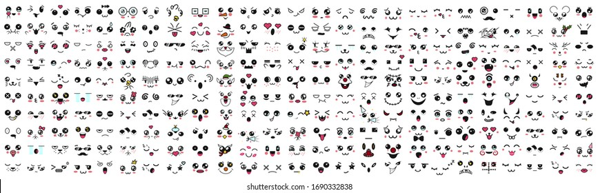 Kawaii cute faces. Manga style eyes and mouths. Funny cartoon japanese emoticon in in different expressions, mega Big Set. Expression anime character and emoticon face illustration. Background. Print.