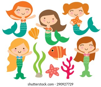 Kawaii Cute Girl Mermaids Under the Sea