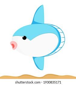 kawaii cute Mola sun  fish Blue Animal sea underwater Cartoon illustration Vector