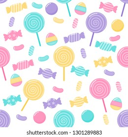kawaii Cute Pastel Candy sweet desserts Seamless pattern with different types on White Background for cafe or restaurant. illustration Vector.