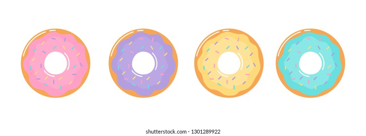 kawaii Cute Pastel donuts Sweet summer desserts cartoon with different types isolated on White Background for cafe or restaurant. illustration Vector.