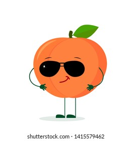 Kawaii cute peach fruit character in the style of a cartoon in sunglasses. Logo, template, design. Vector illustration, a flat style.