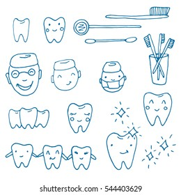 Kawaii dentist - vector set of hand drawn objects. Cute sketch with doctor, teeth, toothbrush, smile and dental tools