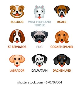 Kawaii dog breed head icons, set I