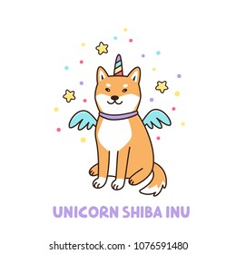 Kawaii dog of shiba inu breed in a unicorn costume. It can be used for sticker, patch, phone case, poster, t-shirt, mug and other design.