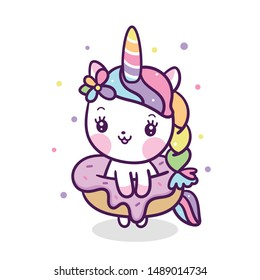 Kawaii donut topping unicorn vector kid food cartoon, Pastel color sweets Dessert bakery product fabulous fashion child decoration cafe shop: muffin graphic invitation (birthday poster), t-shirt