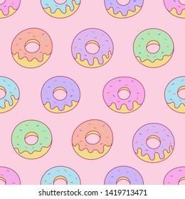 kawaii donuts seamless pattern on pink background for cafe or restaurant. illustration vector.