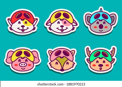 kawaii doode animal stickers designs for coloring, backgrounds, stickers, logos, icons and more