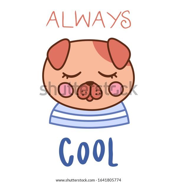 Kawaii Doodle Dog Card Cute Domestic Stock Vector Royalty Free 1641805774