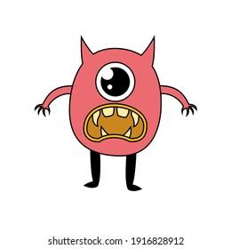 Kawaii doodle monster cartoon character eye one vector sticker design illustration