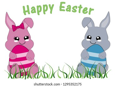 Kawaii Easter card with bunny girl, bunny boy and the text Happy Easter. Vector file EPS 10