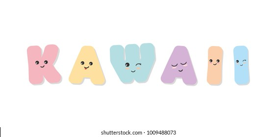 Kawaii emoticon stickers. Cute paper cutout letters. For babies clothes, t-shirt design. Vector EPS10.