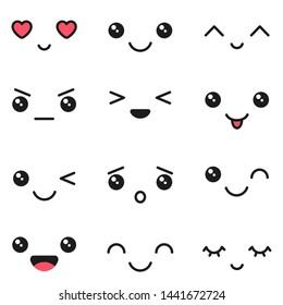 Kawaii emotions, cute characters icons design