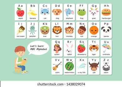 Kawaii English vocabulary and alphabet flash card vector for kids to help learning and education in kindergarten children. Words of letter abc to z ,each card isolated on white background.